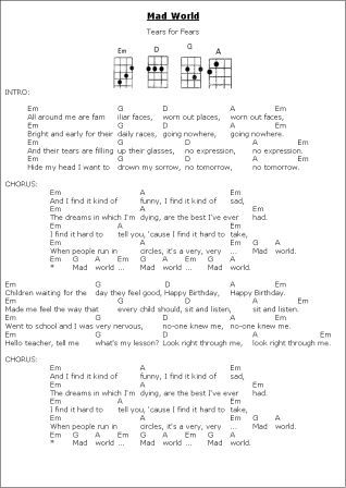 Mad World, Tears for fears. | Ukulele | Pinterest | Mad, Songs and ...