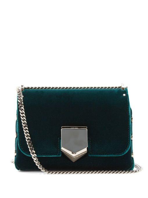316c7d9c02 Jimmy Choo Lockett Petite velvet shoulder bag   Handbags   Jimmy ...