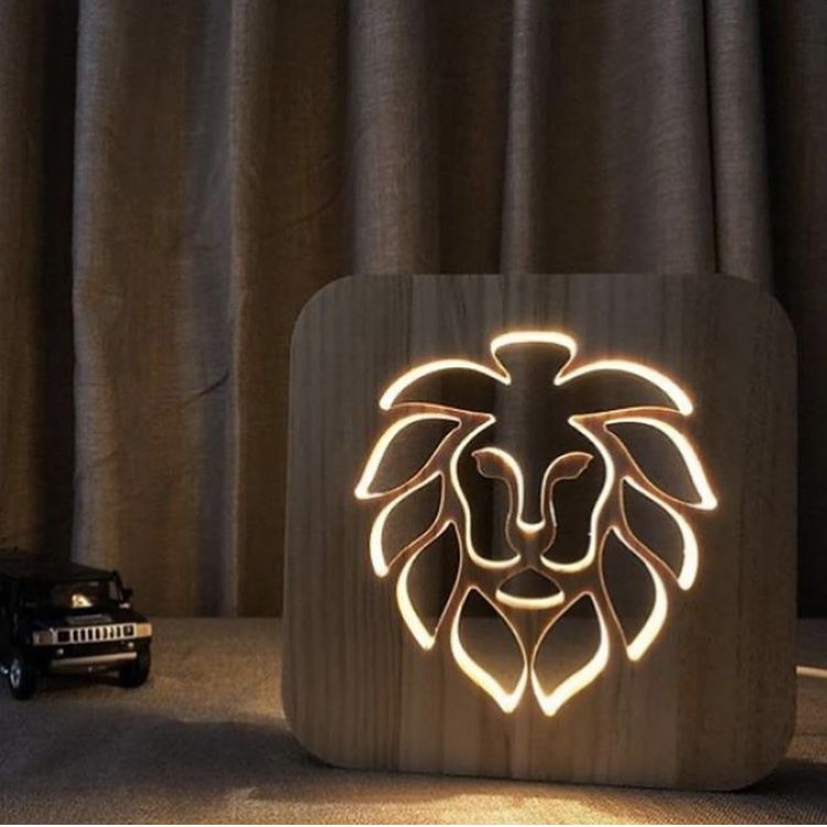 Wooden Animal Night Light Luminaria 3d Lamp Usb Smarplace Wooden Table Lamps Table Lamp Design Wooden Lamp
