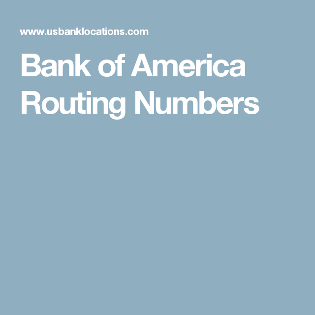 Bank of America Routing Numbers | YUOK SARIN | Pinterest | Banks and ...