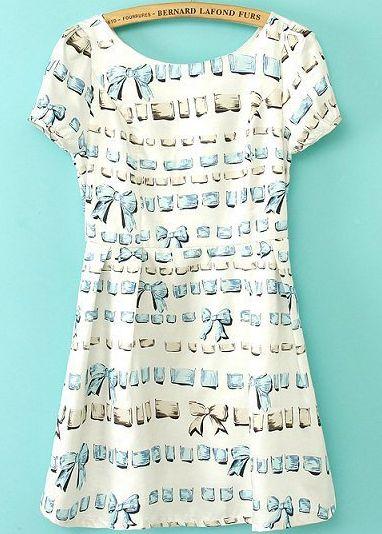 White Puff Sleeve Bow Print Slim Dress - Sheinside.com