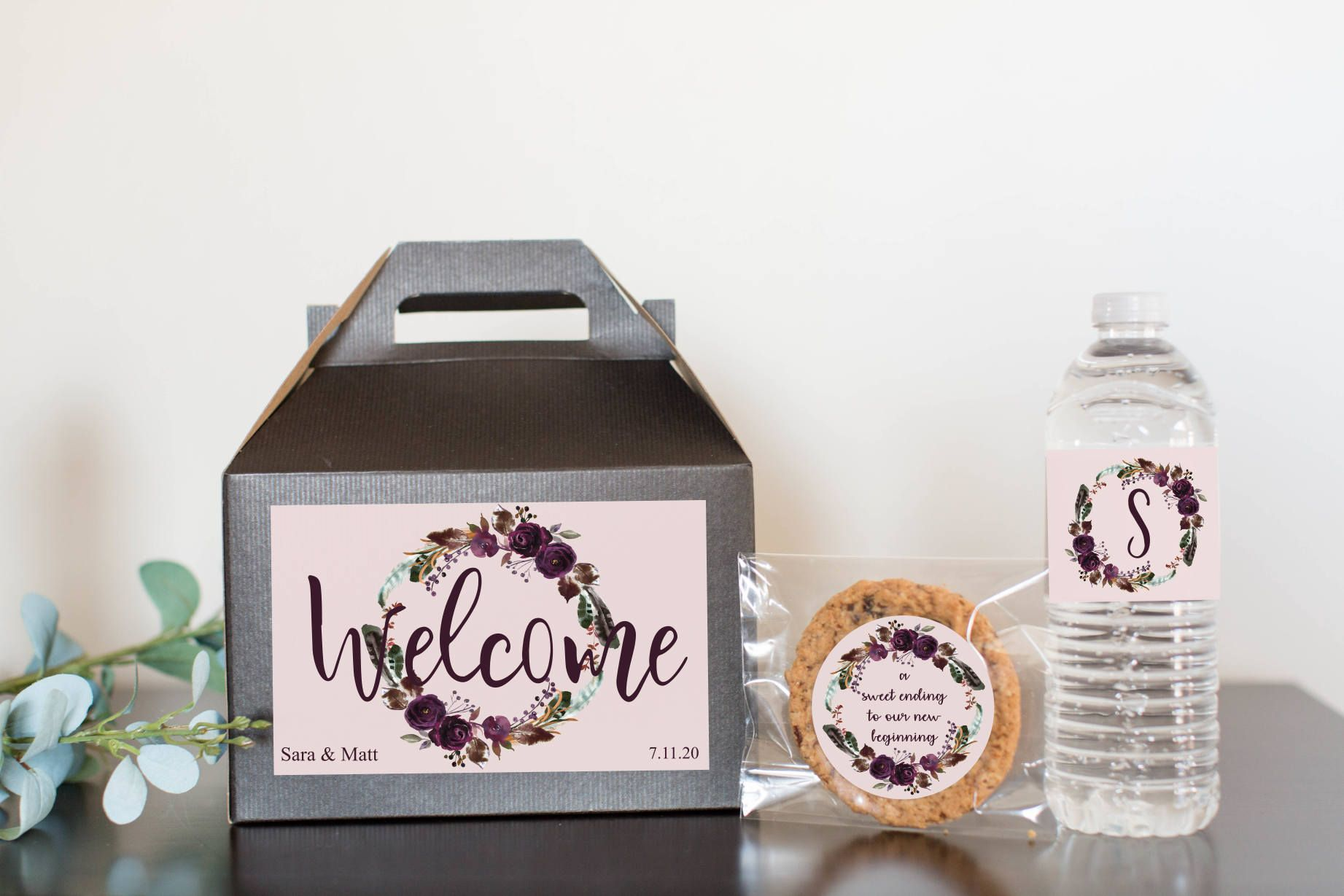 Wedding Welcome Boxes - 10 Wedding Favor Boxes includes Water Bottle ...