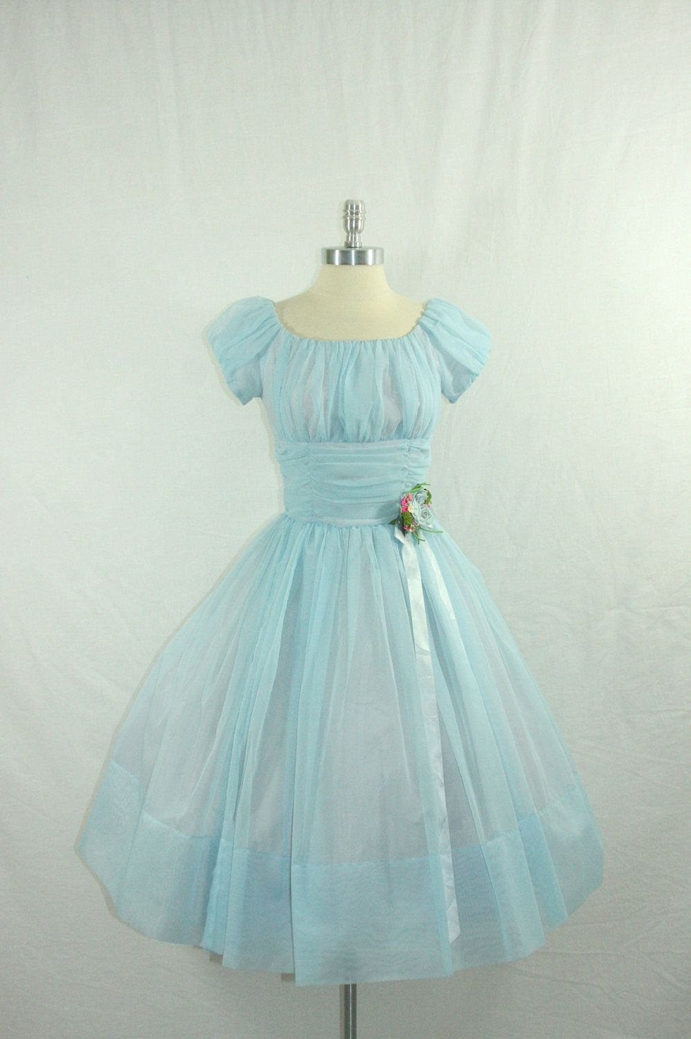 Vintage 1950\'s Blue Wedding Dress - DREAMY Baby Blue Sheer Chiffon ...