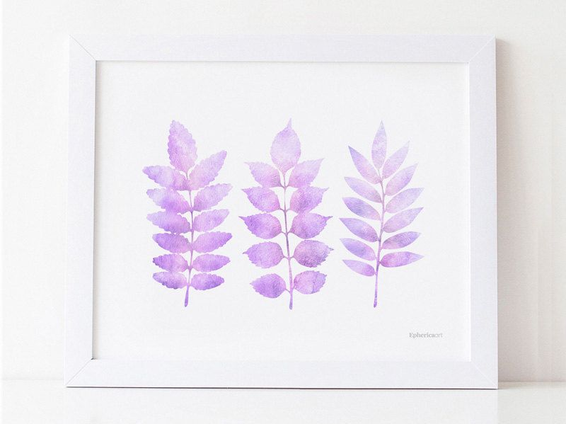 Pastel Purple Wall Art Leaves Printable Watercolor Nursery Room Art Print Lavender Decor Light P Light Purple Girls Bedroom Purple Wall Art Nursery Room Art