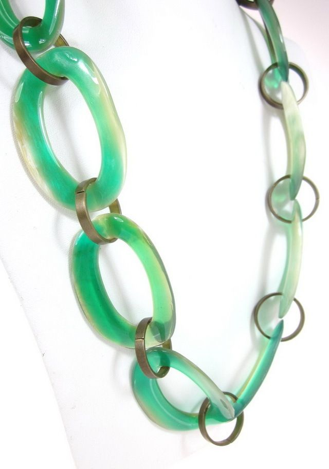 NWT MARNI Green Beige Resin Brass Large Oval Link Strand Ribbon Collana Necklace at www.ShopLindasStuff.com