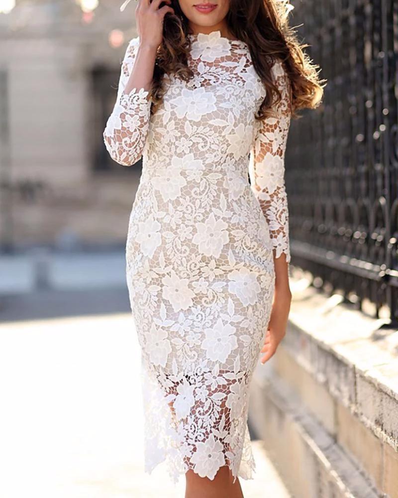 Crochet Floral Lace Bodycon Dress Bodyconest Floral Lace Bodycon Dress Lace White Dress Lace Dress [ 1000 x 800 Pixel ]