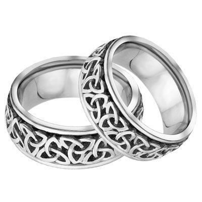 Lesofgold Celtic Trinity Knot Wedding Band Set 14k White Gold