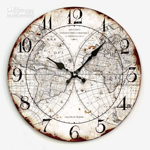 Buy World Map Clock. Best 1 Fashion Vintage Pocket Watch Mute Wall Clock Map of the World Online  with 41 5