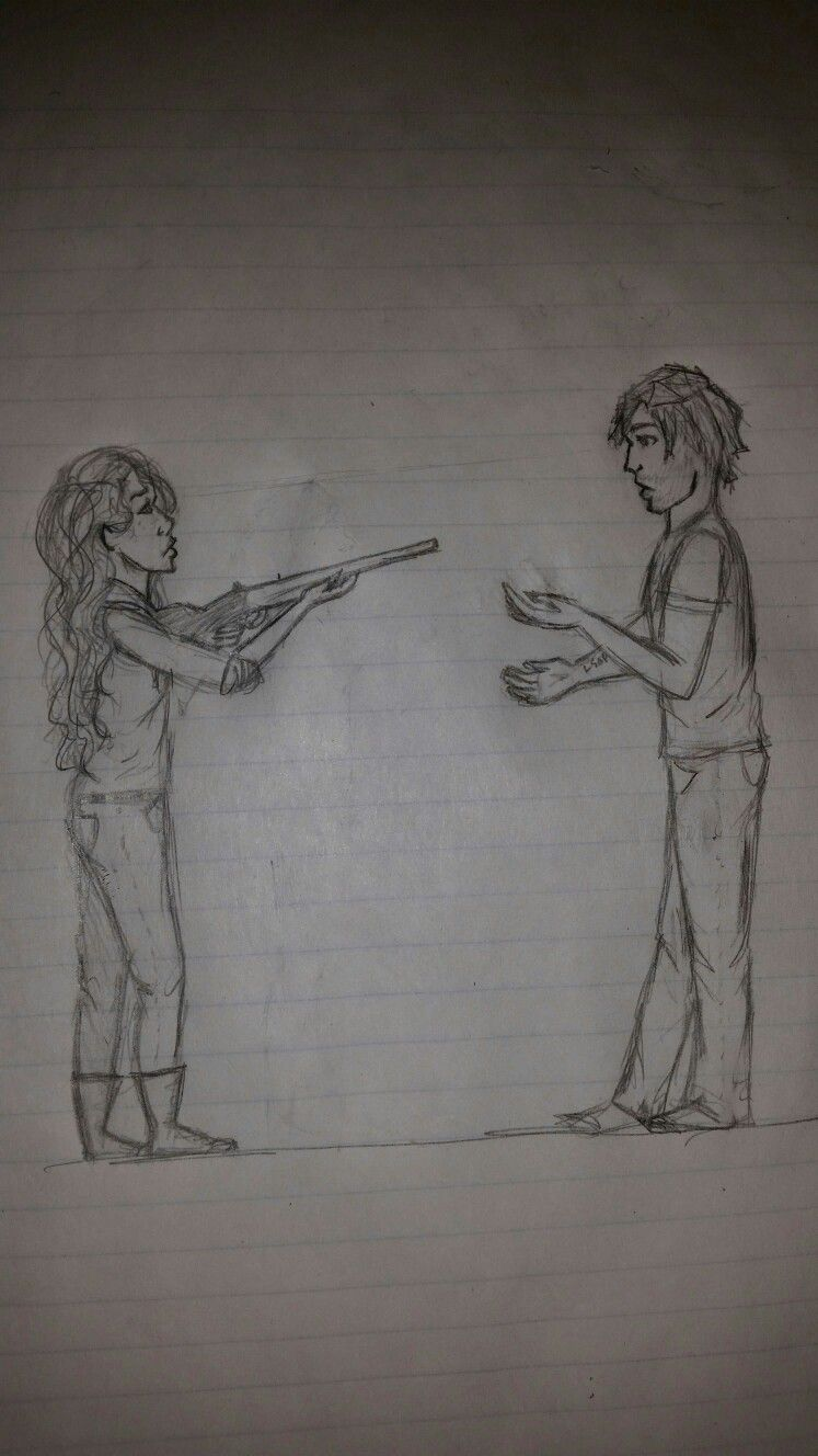 When I pretend I can draw....  Wolflet Scarlet and Wolf (Ze'ev Kesley) Lunar chronicles by Marissa Meyer