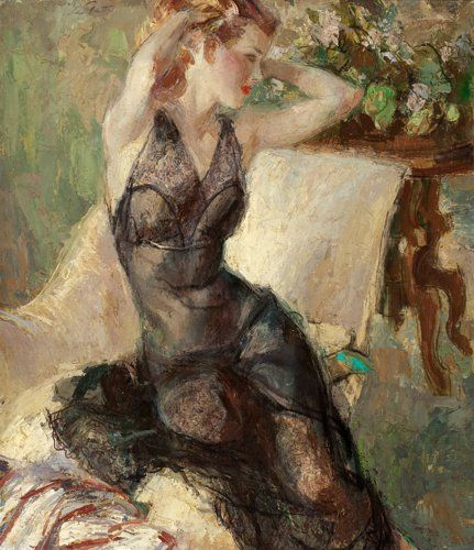 Pin-up and Glamour Art, JOHN LA GATTA (American, 1894-1976). Seated Woman. Oil oncanvas. 30 x 26 in.. Signed upper left. ...