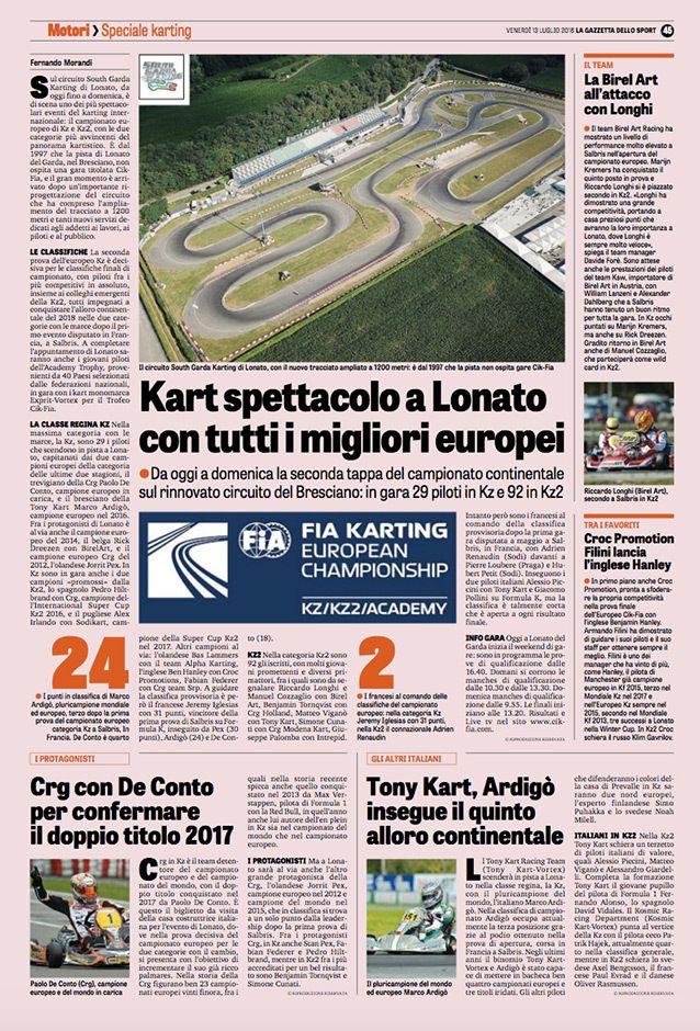 """Lonato une page complète sur le Karting dans la """"Gazzetta"""