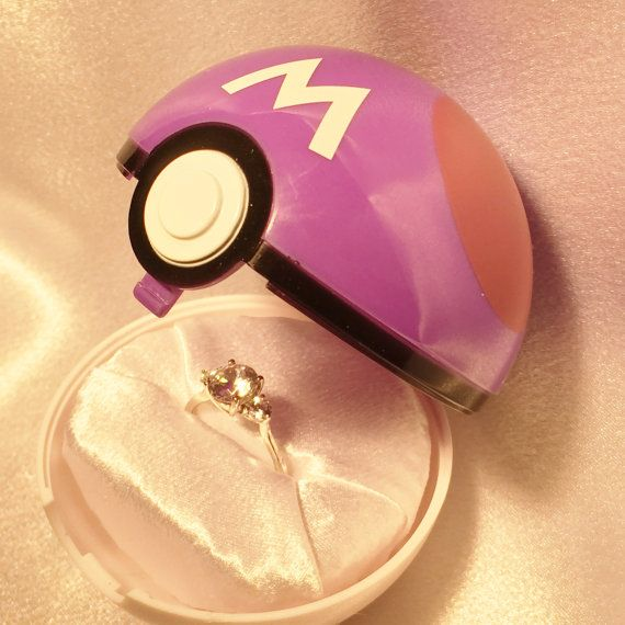 Pokeball Engagement Ring BoxMasterball option Ring by Dreamscapee