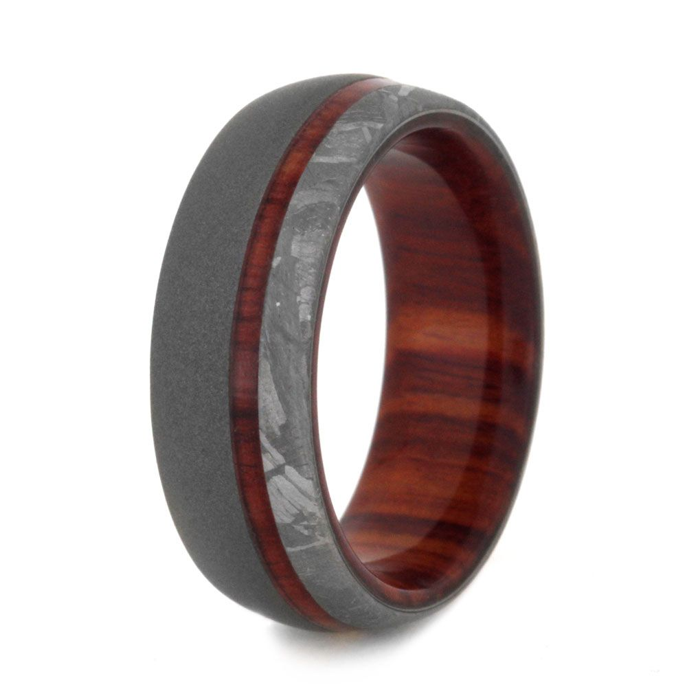Wood Wedding Band With Sandblasted Titanium And Meteorite3141