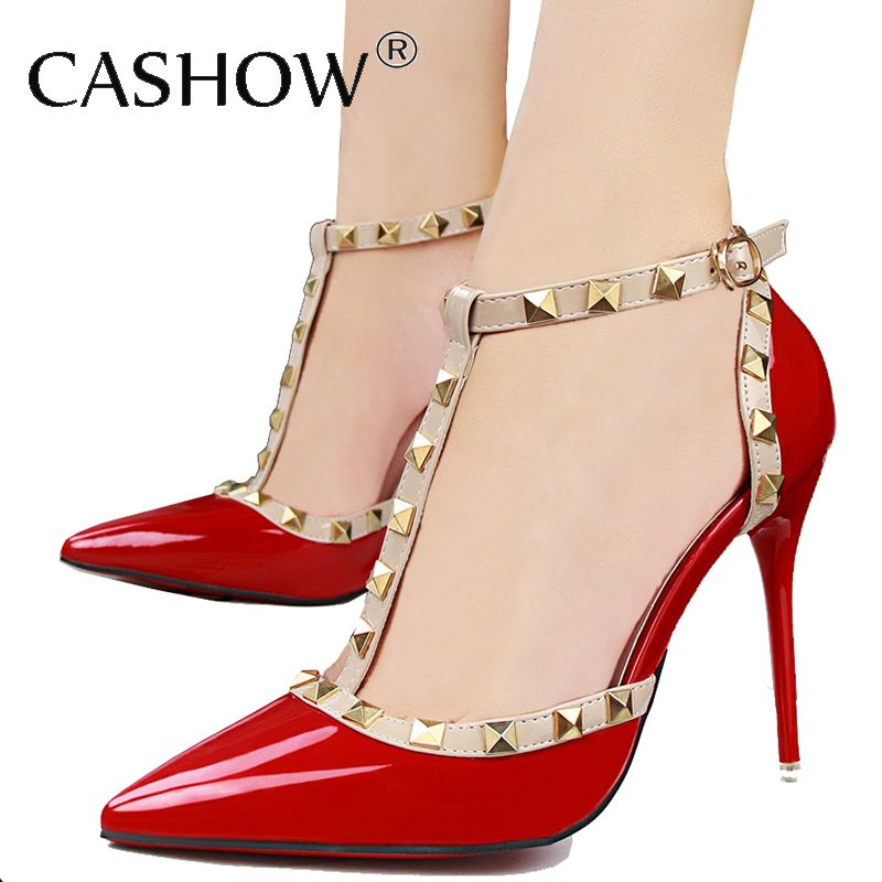8cb0203c97 Barato Cashow nova moda rebites sapatos de salto alto sandálias de dedo  apontado salto fino Sexy