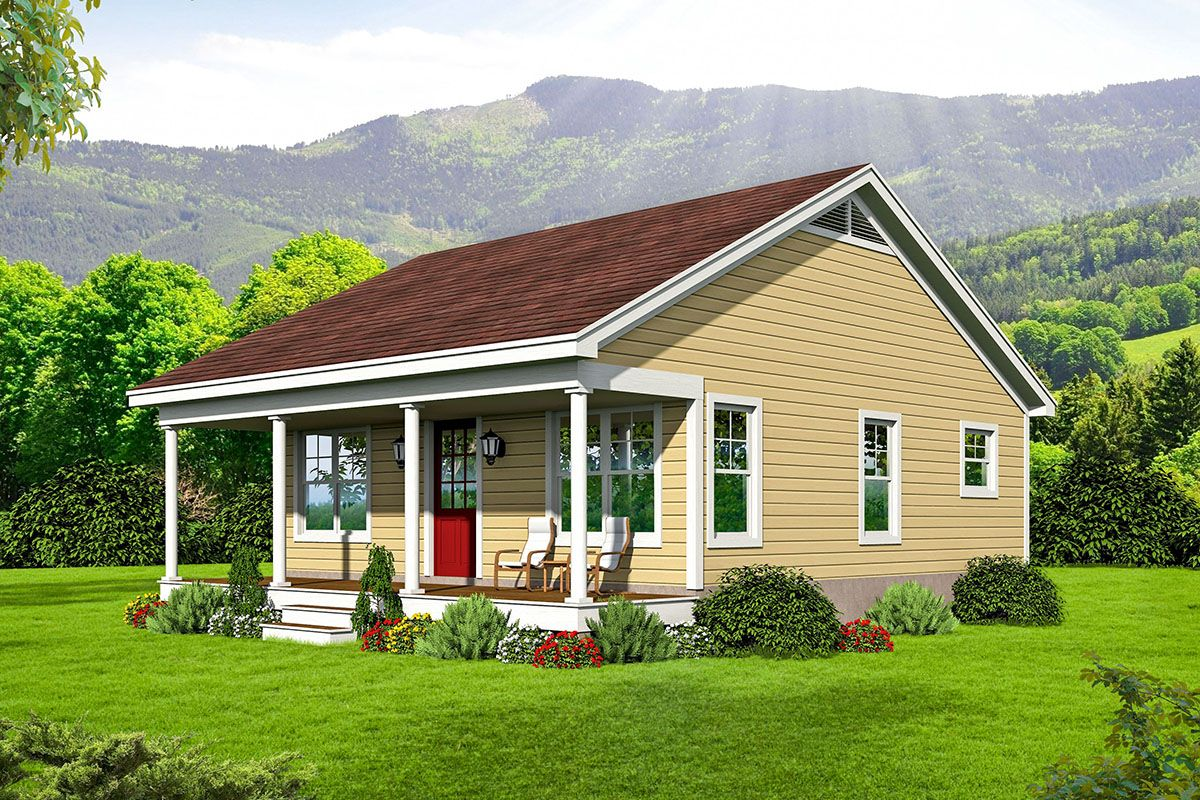 Plan 68574vr One Bed Tiny Country House Plan One Bedroom House One Bedroom House Plans Country House Plan