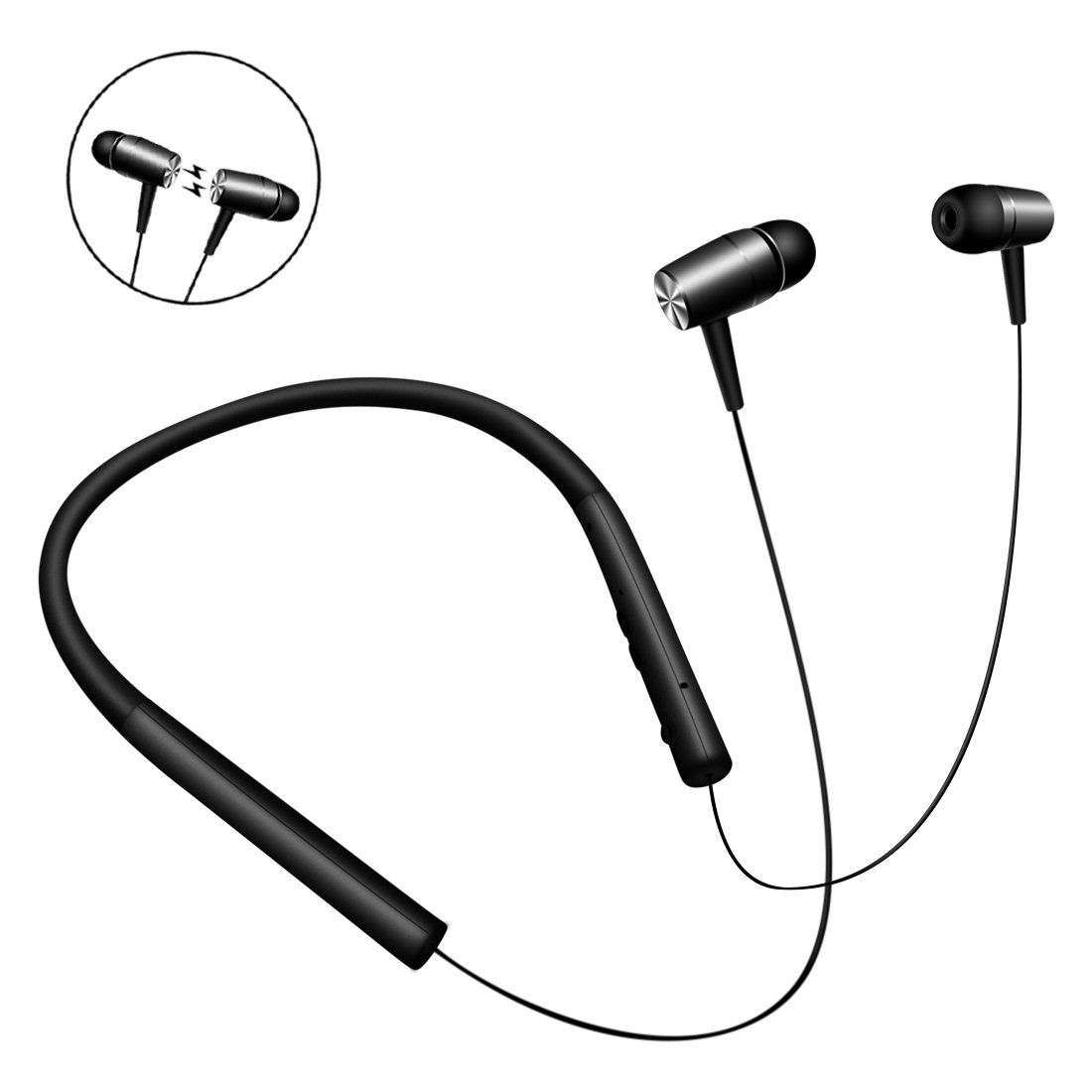 Kimitech V4.1 Bluetooth Headphones Wireless Wired Flexible Neckband ...