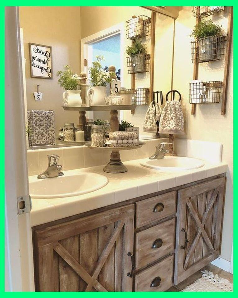 50 Lovely Bathroom Decor Ideas With Farmhouse Style Bathroom