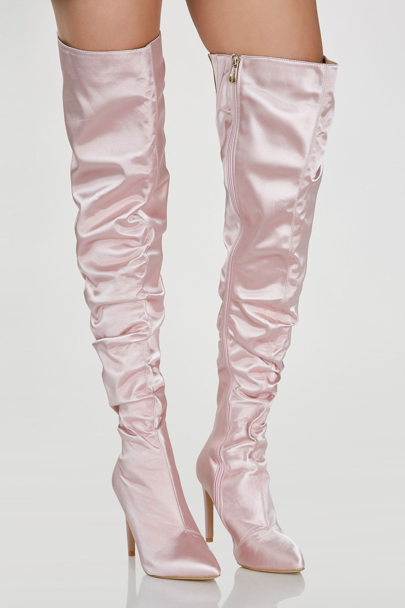 77762f6804c0 Smooth satin thigh high boots with stiletto heels. Slight ruched effect  with side zip closure and pointed toe finish. - Man made materials -  Imported ...