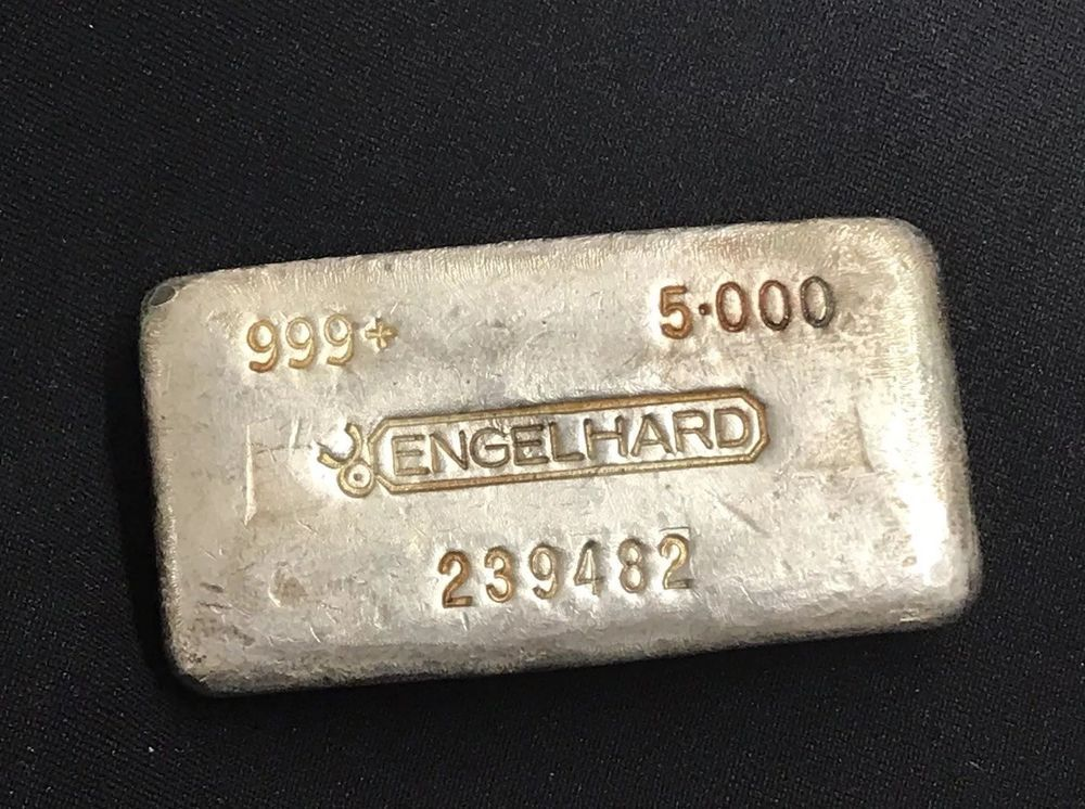Poured Engelhard 5 Oz 999 Silver Bar Early Vintage Issue With Images Silver Bars Vintage Silver