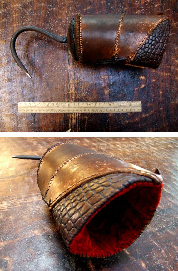Real Pirate Hook : pirate, Pirate, Metal,, THICK, Leather,, Velvet, Lining,, Rustic, Thick
