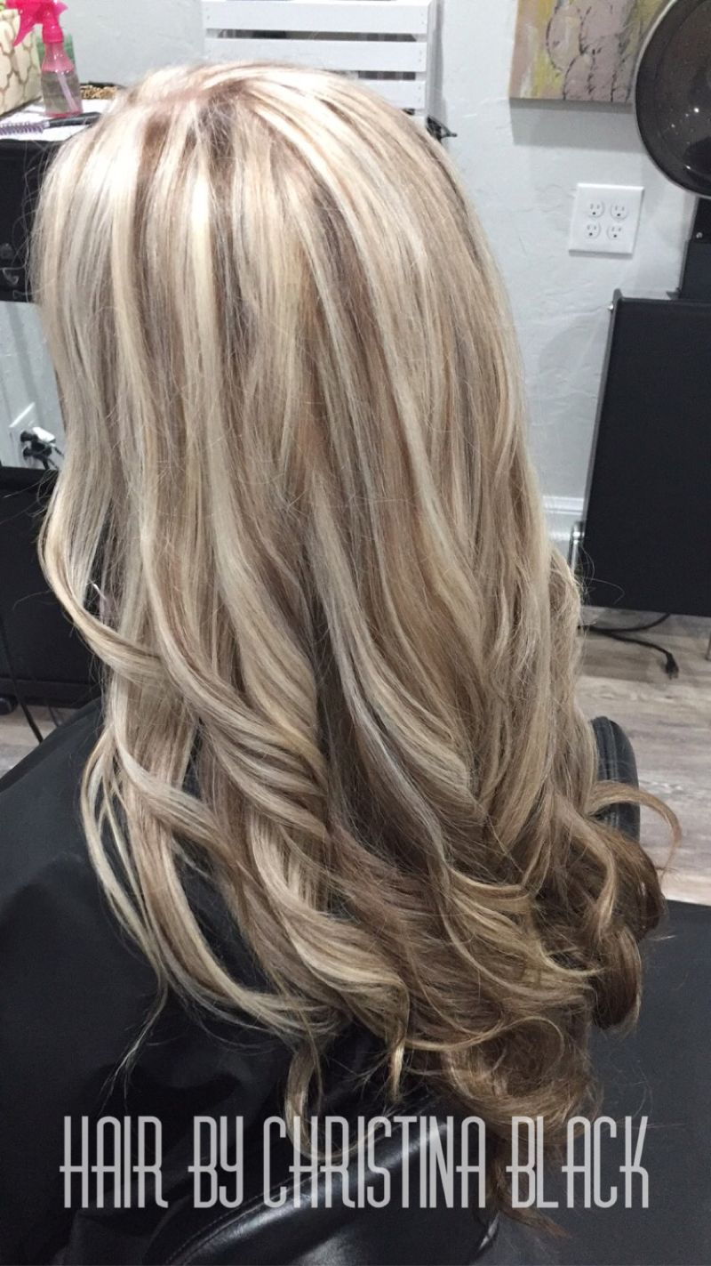 Ash blonde highlights with chocolate brown lowlights and under color
