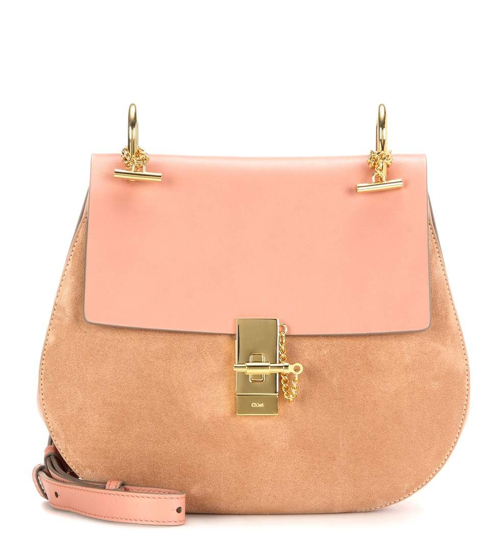 1108177ba47 Chloé - Drew Medium leather and suede shoulder bag - The gold-tone hardware  accents, soft rose leather and pale nude suede offer a touch of versatile  ...