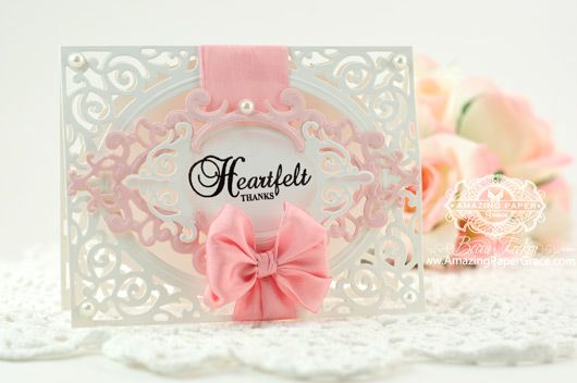 Thank you Card Making Ideas by Becca Feeken using  JustRite Vintage Filigree Layers and Spellbinders A2 Filigree Delight