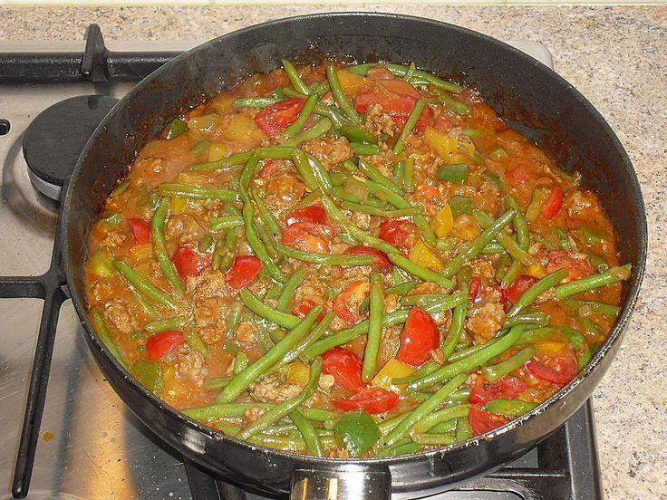 Grüne Bohnen mit Hackfleisch und Tomaten #healthycrockpotchickenrecipes