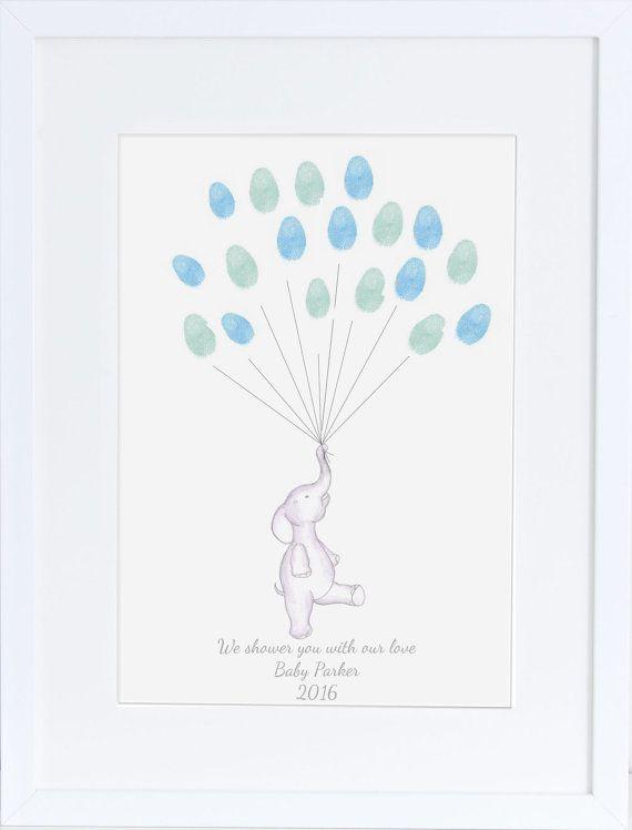 Perfect Baby Shower Guest Book, Keepsake Art, Elephant Holding Fingerprint Balloons,  Nursery Art,