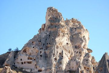 Uchisar Castle in Cappadocia Turkey – Buy this stock photo and explore similar images at Adobe Stock