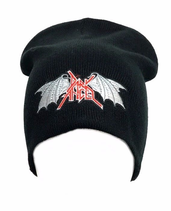 Red Dark Angel Patch Beanie Punk Rock Band Music Guitar Embroidery Winter  Black  Clover  Beanie 4c616fc2e67