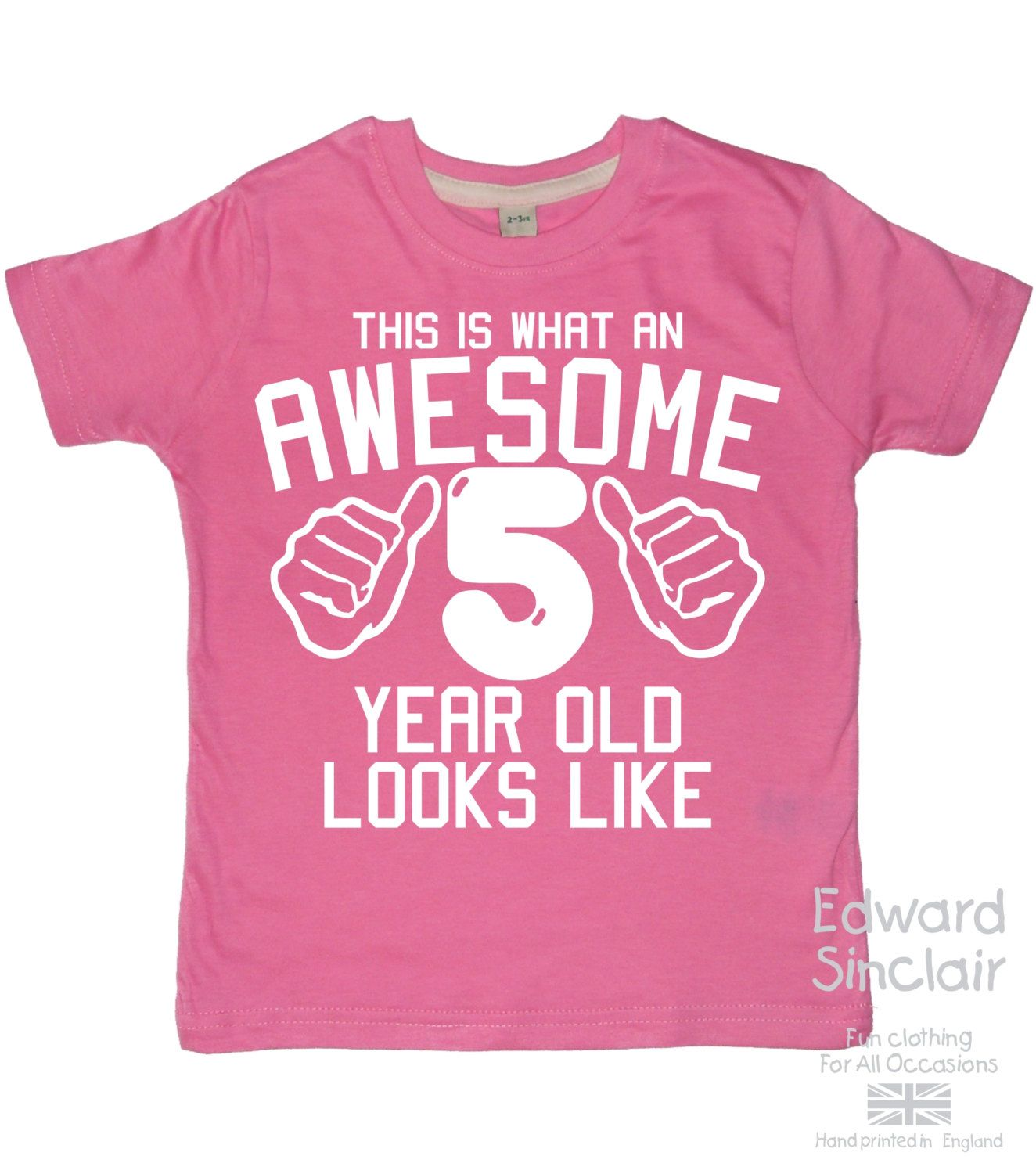 This Is What An Awesome 5 Year Old Looks Like Girls 5th Birthday T Shirt With White Glitter Print By EdwardSinclair On Etsy