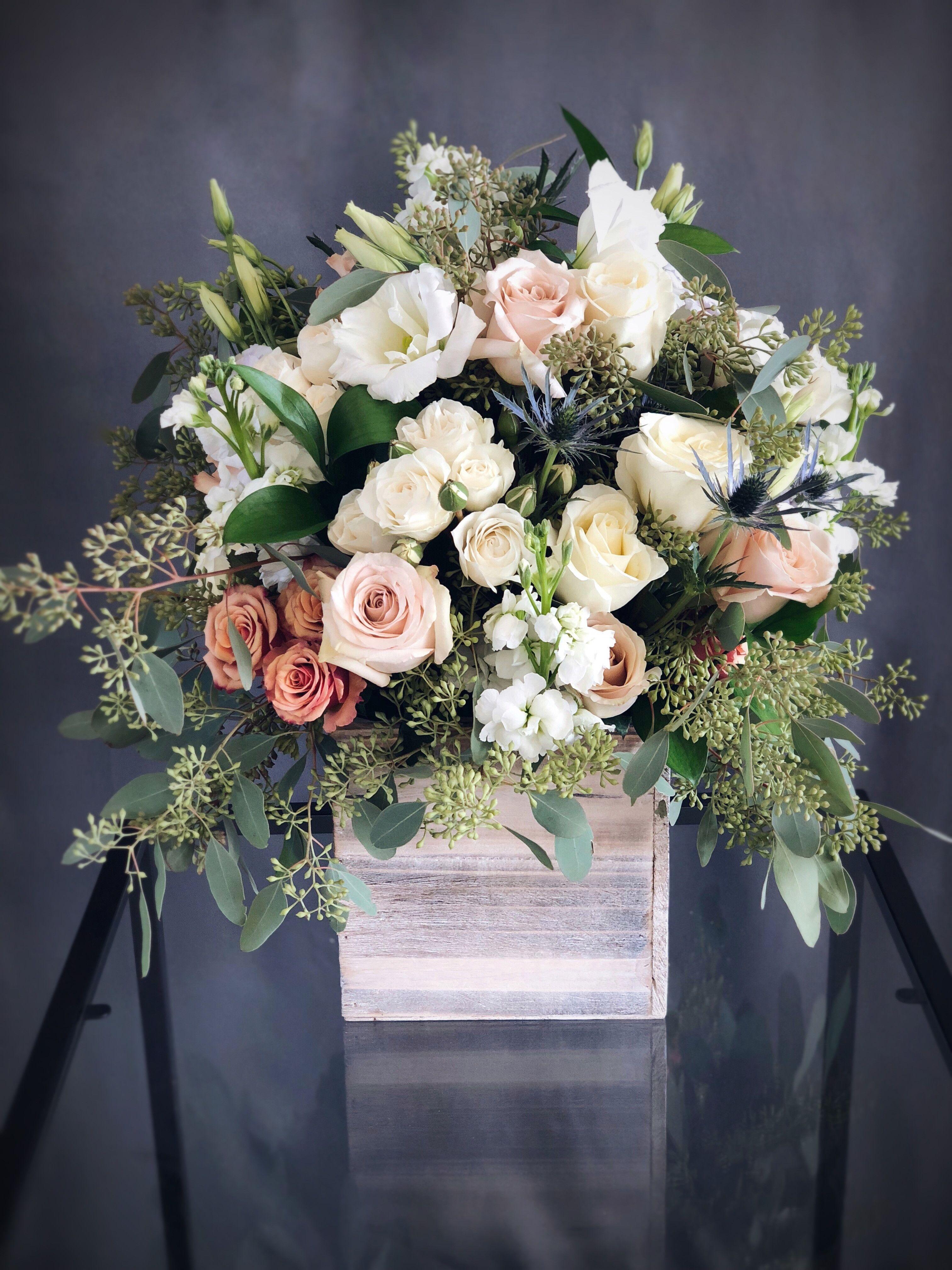 Send 19 Tall White & Pink wood box arrangement in