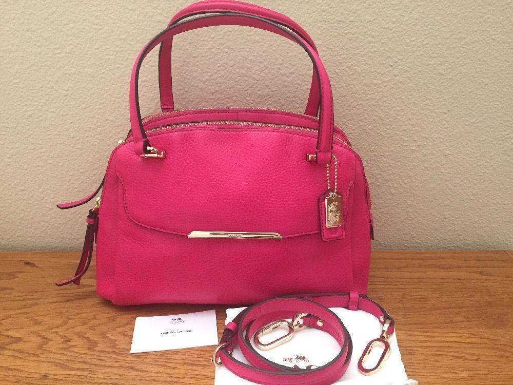 Coach Madison Leather Small Georgie Satchel Handbag Crossbody F30081 Pink Ruby Ebay