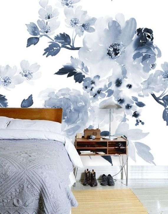 Blue And White Floral Wallpaper Blue Wall Mural Remove Wallpaper Peel Stick Mural Blue Floral Wall Decal Self Adhesive Wall Paper 77 Wall Murals Blue Flower Wallpaper Floral Wall Decals