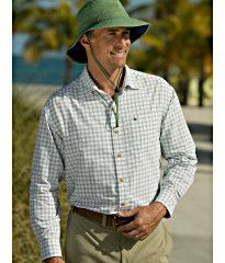 The best UV shirts offer superior UV protection without bulk or weight. Our smart Men's Sun Escape Shirt delivers on both fronts, giving you reliable coverage to the wrists and keeping you cool and comfortable. Like all our sunscreen clothing, it's chock full of features you'll love. Also shown is the Featherweight Bucket Hat.