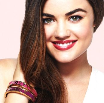 Lucy Hale wearing mark's Might Pretty M.Powerment Bracelet coming to my Avon/mark store on Jan. 24th!