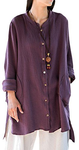 4964fc0e1fda31 Soojun Womens Loose Fit Button Down Linen Cotton Cardigan Shirts Coat  Purple *** See this great product.Note:It is affiliate link to Amazon.