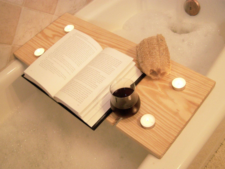 Handcrafted Wood Bath Tray - Pine Bath Caddy with tealight holder ...