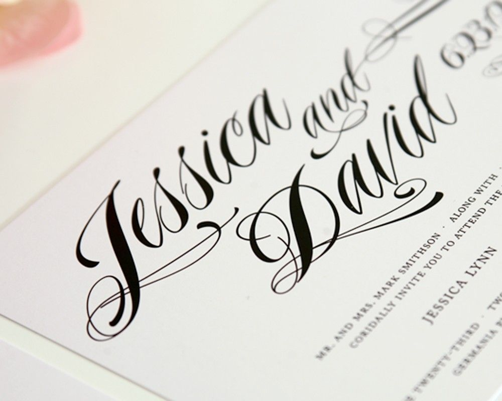 Modern Vintage Wedding Invitations with Unique Calligraphy Font for ...
