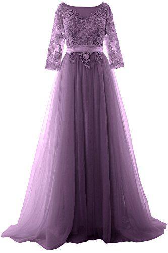 MACloth Elegant Half Sleeve Prom Dress Lace Tulle Maxi Ev... https:/