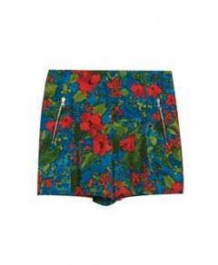 Petunia Print Blue Shorts With Zippers