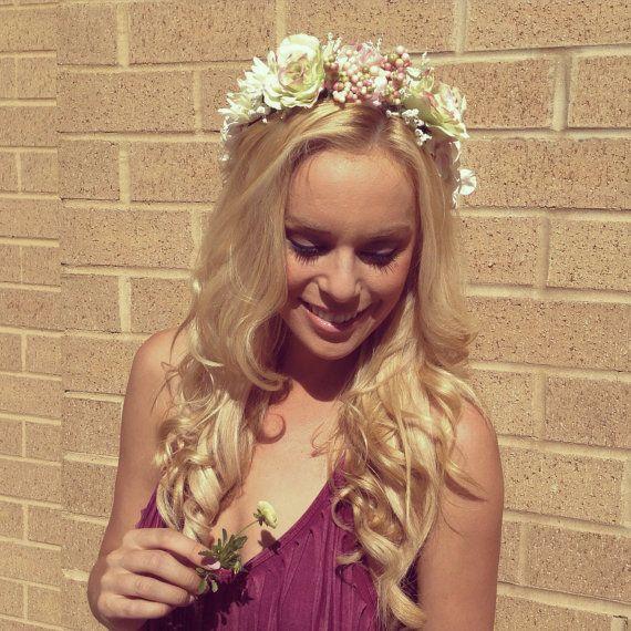 Pink floral crown. Ornate floral crown. Pink flower crown. Wedding crown. Bridal shower crown.