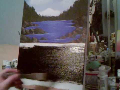 Acrylic Painting Lesson 8 How To Underpaint For A Rock Wall And Waterfalls