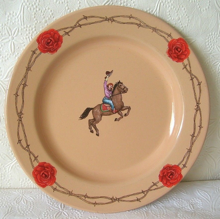 Marble Canyon Plate Enamelware Rodeo Cowgirl On Horse Vintage 10 Inch Enamelware Rodeo Cowgirl Marble Canyon