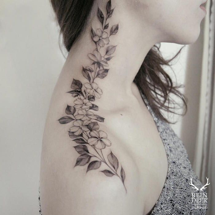 A South Korean Artist Is Breaking Taboos With Flower Tattoos Neck Tattoos Women Neck Tattoo Floral Tattoo Design