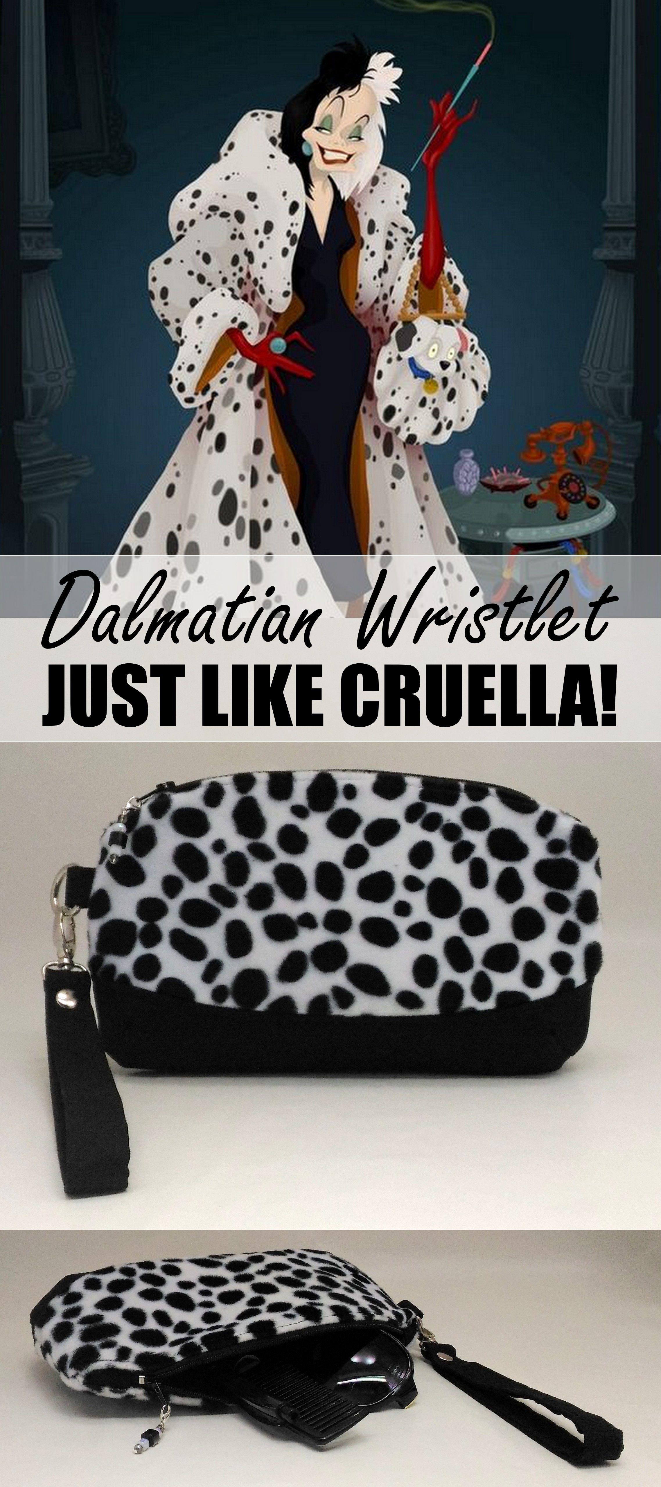 92cd658e50 Complete your Cruella Deville costume with this Dalmatian faux fur purse