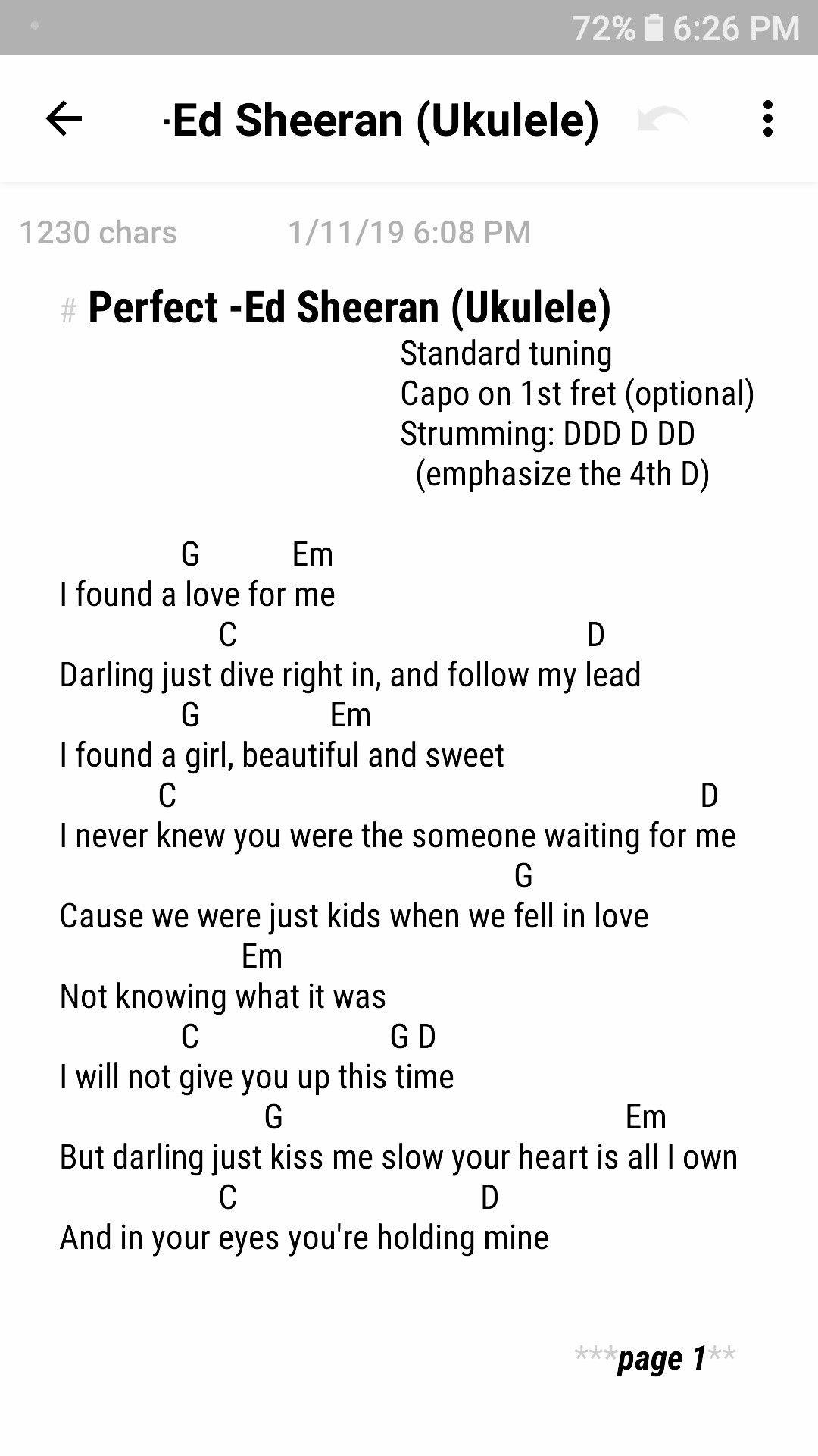 Perfect  Ed Sheeran page 200/20 Elise Ecklund on youtube   Ukulele ...