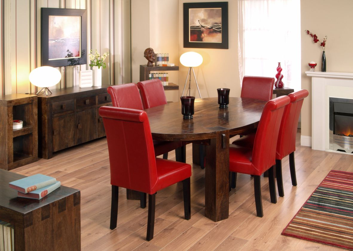 Fancy Wooden Oval Dining Table With Red Leather Chairs Listed In