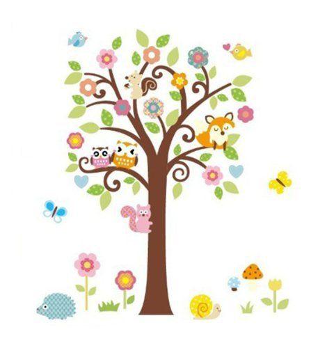Beautiful WallStickersDecal Dschungel Wald Eule Eichh rnchen Fox u Gesang auf bunten Baum Wandtattoos f r Kinderzimmer